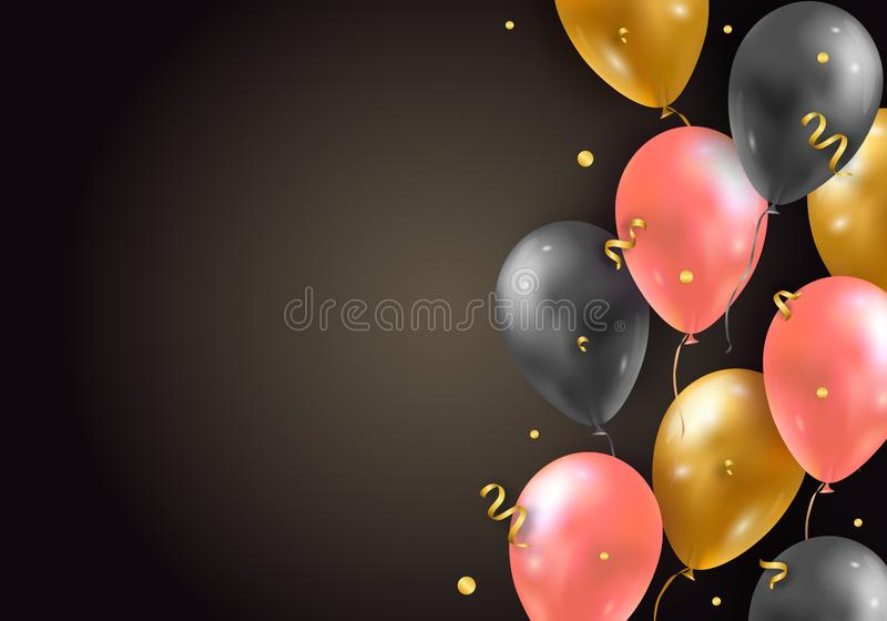 Vector background with glossy air 3d flying balloons, ribbons and confetti. Party decoration for birthday, anniversary royalty free illustration