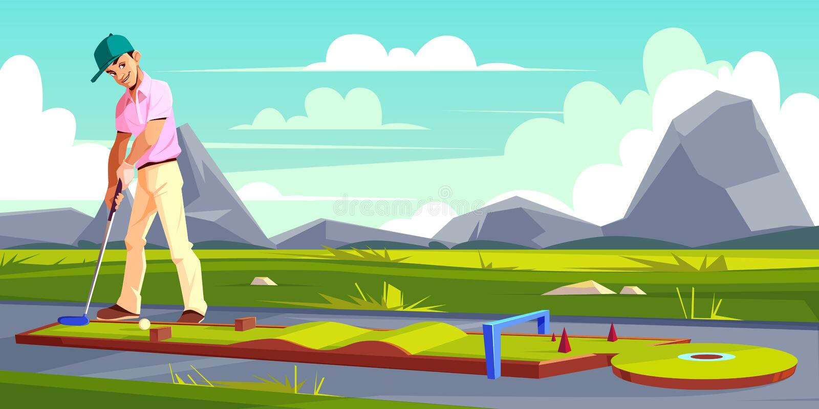 Vector background with golf player on field. Vector background with man playing golf on green grass. Athlete in pink t-shirt, white trousers trains on a field vector illustration