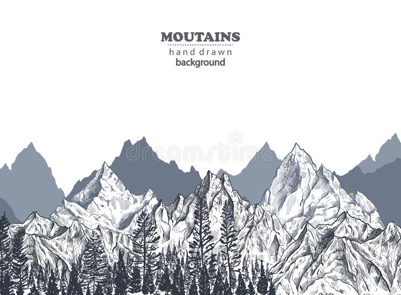 Vector background with hand drawn graphic mountain ranges vector illustration