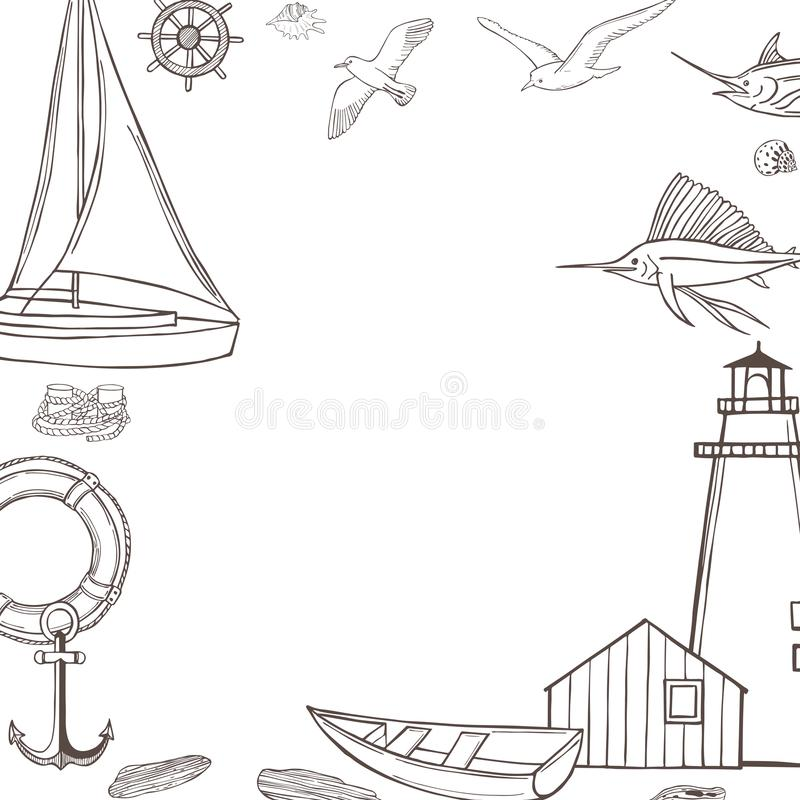 Vector  background with nautical icon. Vector  background with hand drawn nautical icon on white background vector illustration