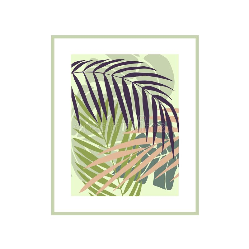 Vector background with hand drawn tropical plants. Vector background with hand drawn tropical plants on white background. Palm leaves stock illustration