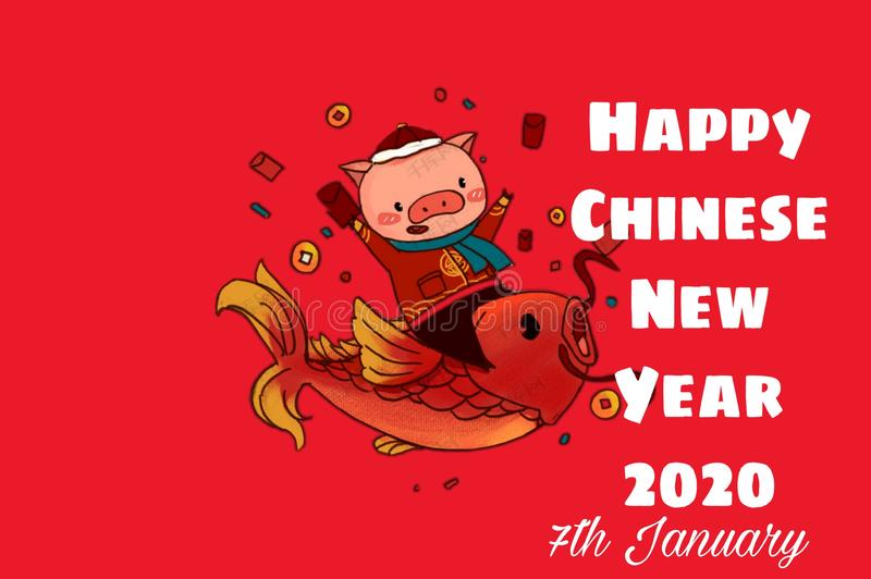Vector background of happy chinese new year 2020 royalty free stock photos