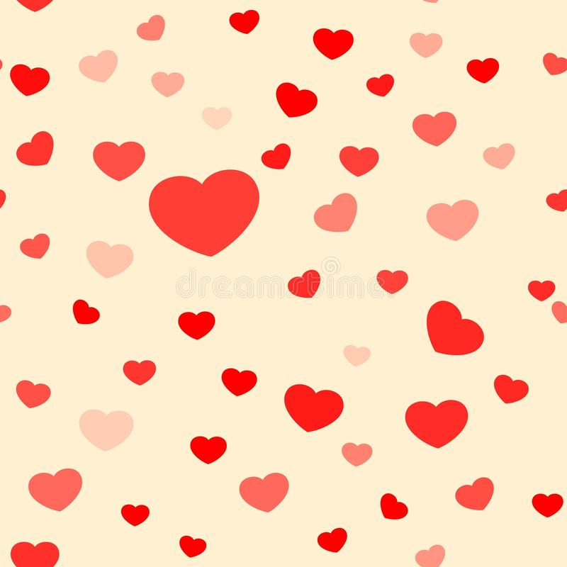 Vector background of heart shape pattern seamless random repeat vintage tone royalty free illustration