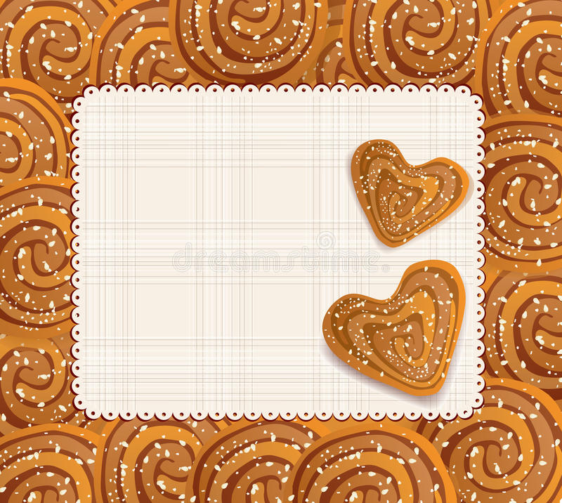 Vector background with a heart-shaped cookies stock illustration