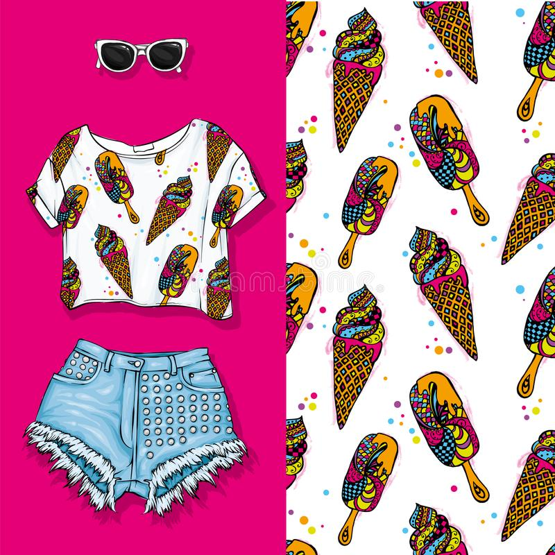 Vector background of horns with ice cream. Vector illustration. Short top and shorts, feminine stylish look. Summer outfit. stock illustration