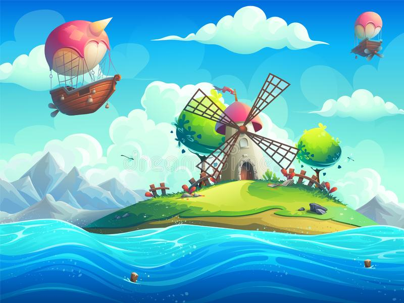 Vector background illustration of a mill on an island in the ocean stock illustration