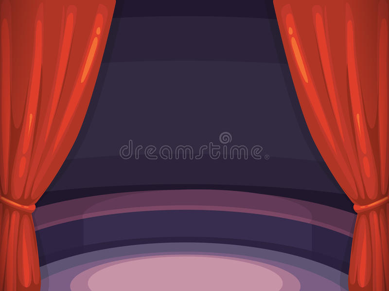 Vector background illustration with red curtain and arena. royalty free illustration