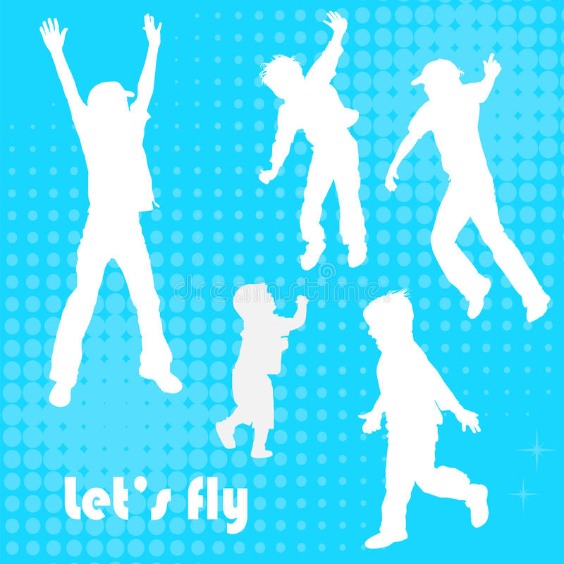 Vector background of jumping kids royalty free illustration