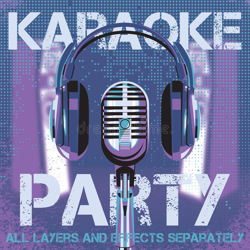 Vector background for karaoke party royalty free illustration