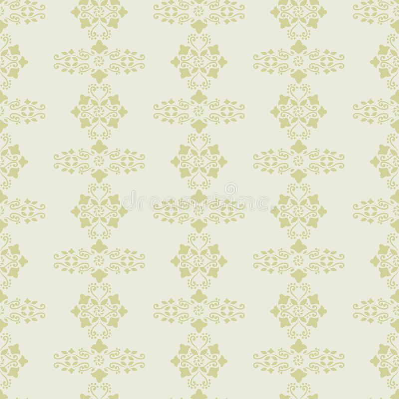 Vector background light gray and mustard delicate ornament retro floral flowers curls seamless pattern wallpaper. stock illustration