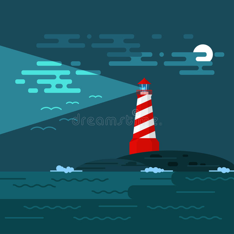 Vector background with lighthouse, sea, waves an night. stock illustration