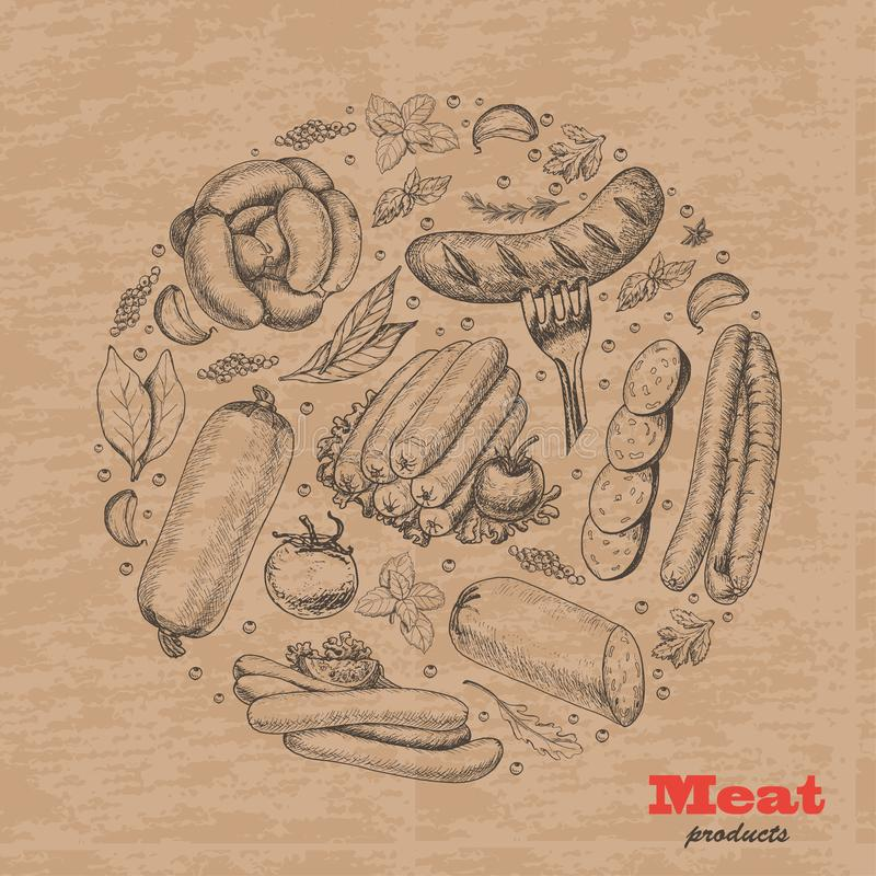 Vector background with meat products arranged in a circle stock illustration