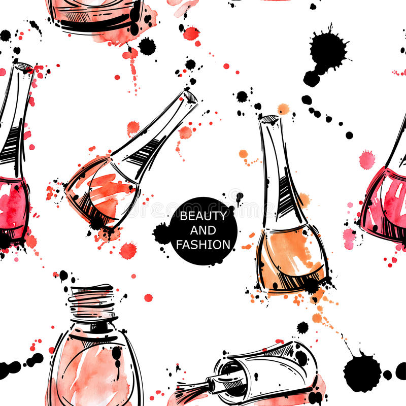 Vector background with nail polish. royalty free stock image