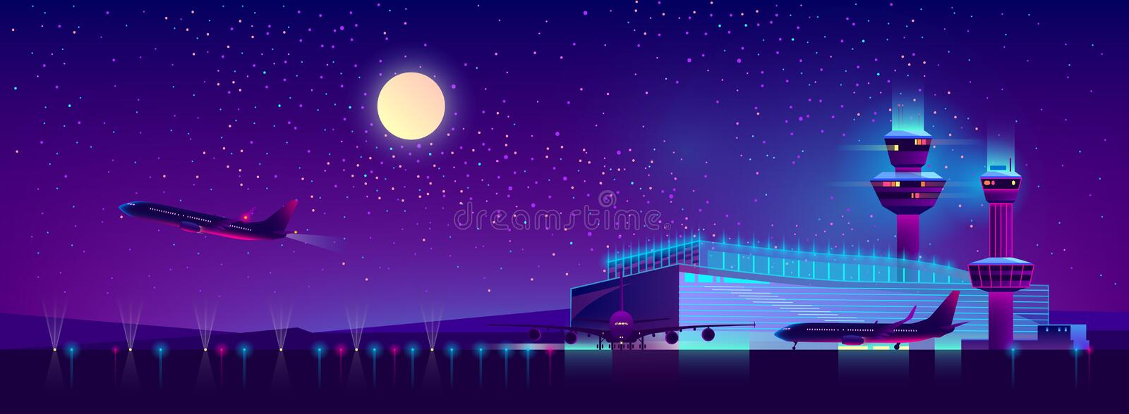 Vector night airport in ultraviolet colors, background. Vector background of night airport with takeoff of the plane in ultraviolet colors. Terminal, control vector illustration