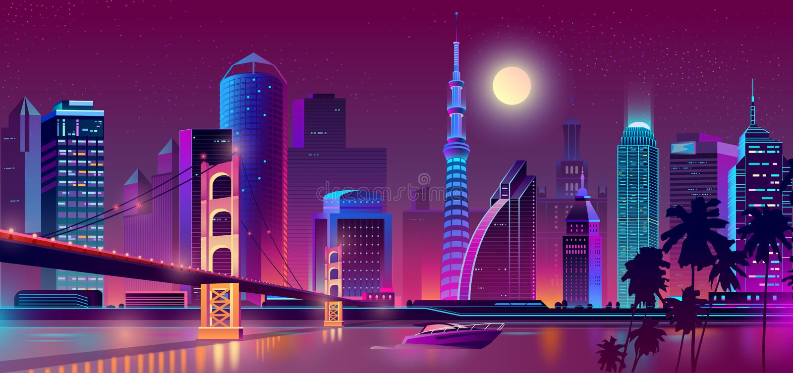 Vector background with night city in neon lights. Vector concept background with night city illuminated with neon glowing lights. Cityscape in violet colors royalty free illustration