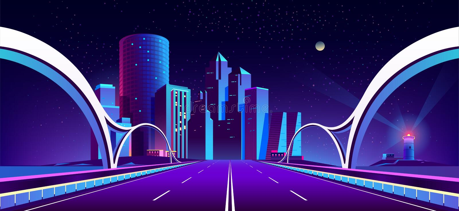 Vector background with night city in neon lights. Vector concept background with night city illuminated with neon glowing lights. Futuristic cityscape in blue vector illustration