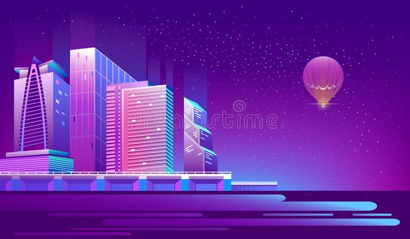Vector background with night city in neon lights. Vector concept background with night city illuminated with neon glowing lights. Futuristic cityscape in blue royalty free illustration