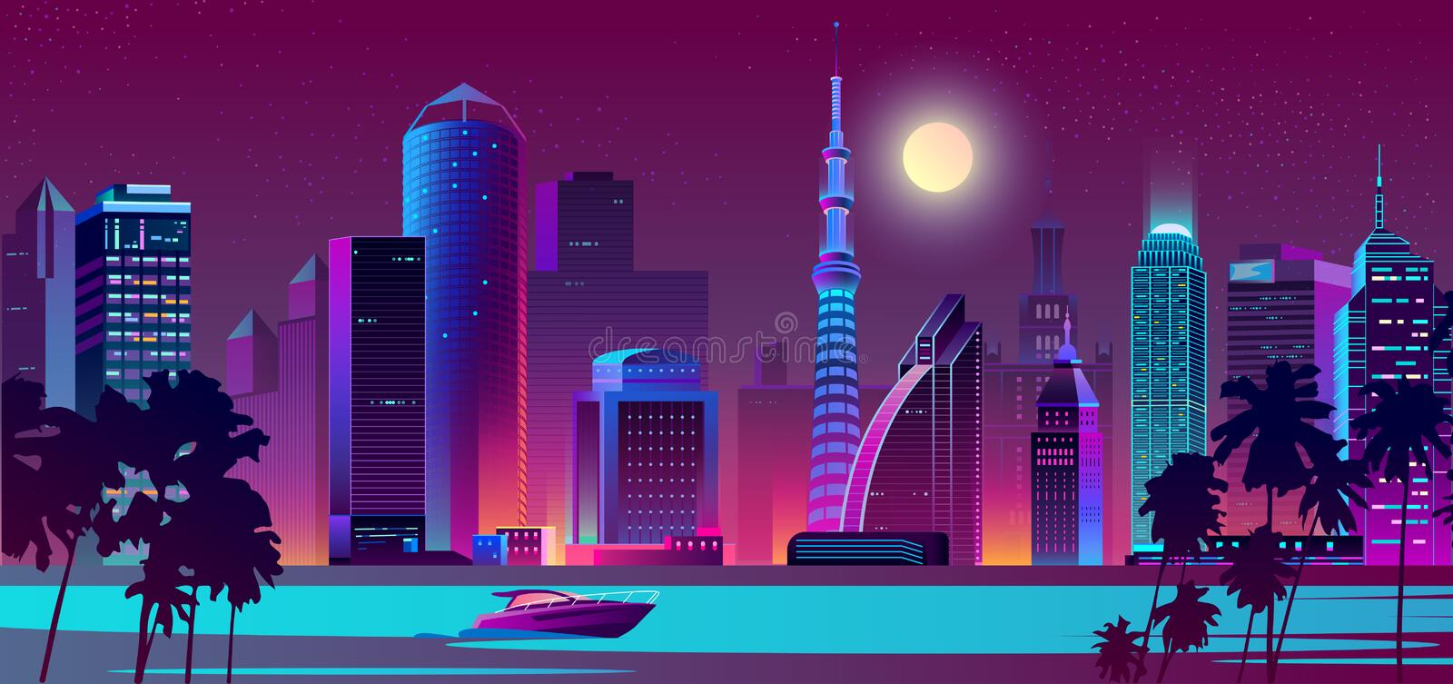 Vector night city on river with boat. Vector background with night city in neon, ultraviolet colors with ship on water. Bright river with boat and full moon over royalty free illustration