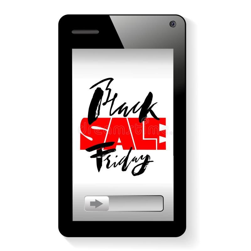 Vector background of online shoping. Mobile smartphone device. Black friday lettering royalty free illustration