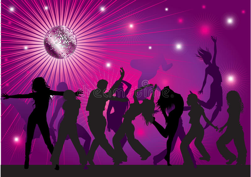 Vector background with people dancing in nightclub stock illustration