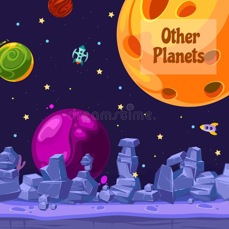 Vector background with place for text with cartoon space planets and ships. Vector background banner gui with place for text with cartoon space planets and ships vector illustration