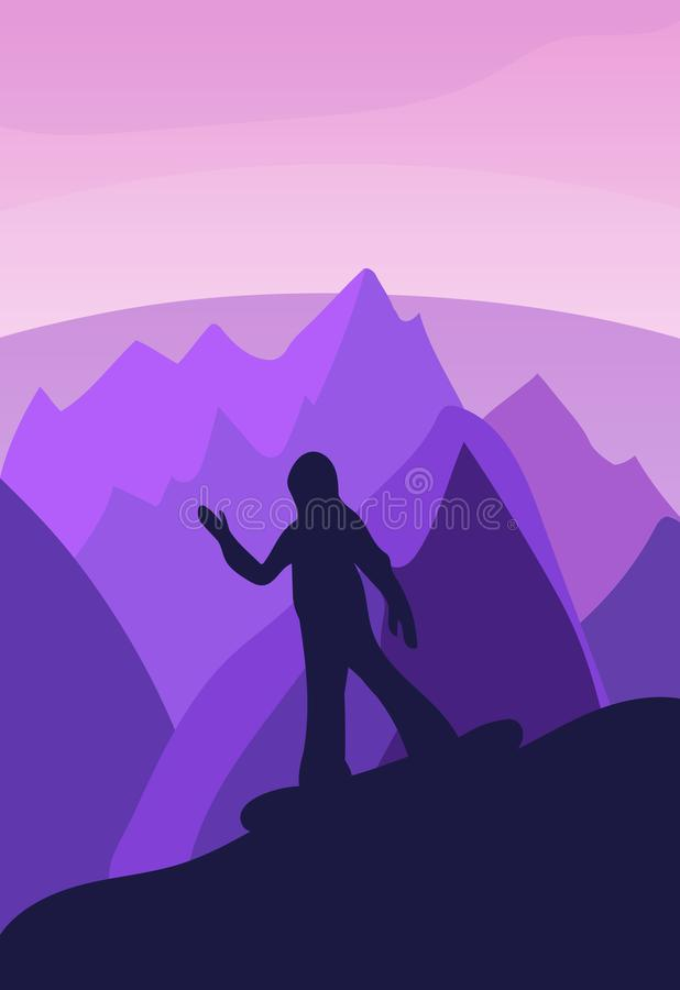 Vector background with polygonal landscape illustration with athletes. winter sports. flat design. vector illustration. snowboard. Cross-country skiing, skater stock illustration