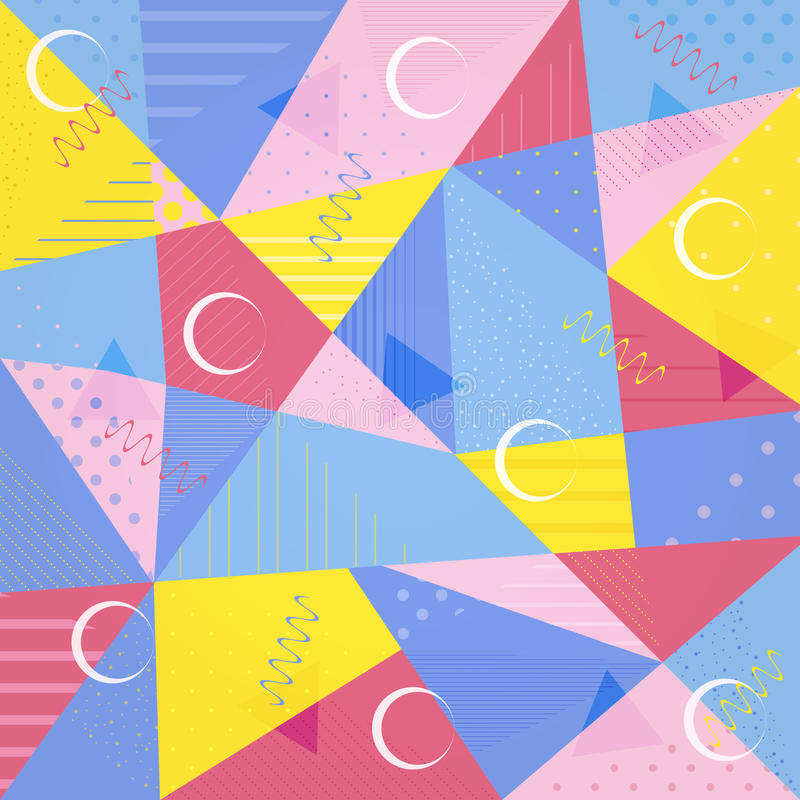 Vector background of a polygonal pattern in the Memphis style. royalty free illustration