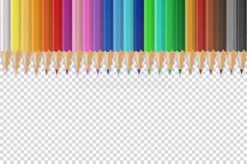 Vector background with realistic 3D wooden colorful colored pencils or crayons on transparent background with space for vector illustration