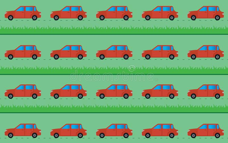 Vector background with cars and grass royalty free stock photos