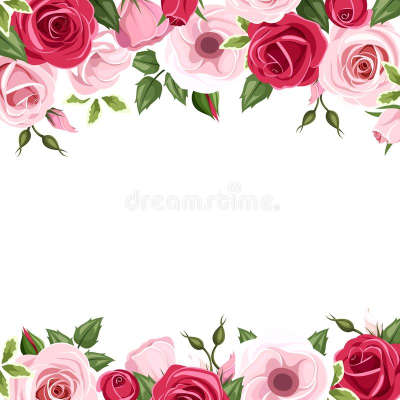 Background with red and pink roses and lisianthus flowers. Vector illustration. stock illustration