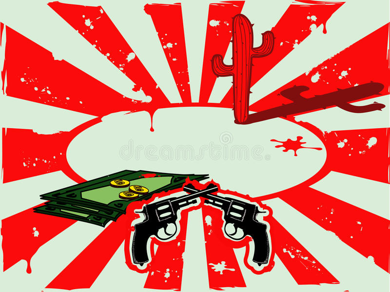 Vector background with revolvers, money and cactus in the desert stock images