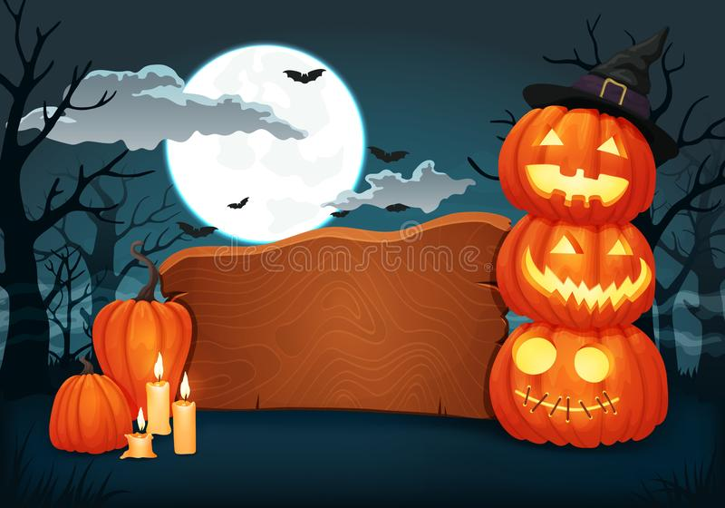 Wooden signboard with candles and glowing halloween pumpkins with witch hat. Vector background, sign, poster design. Wooden signboard with candles and glowing vector illustration