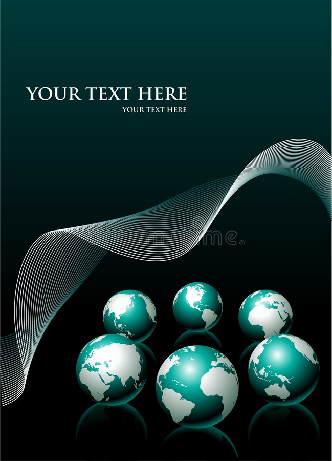 Vector background with six globe and white wave. Vector illustration with six globe and white wave stock illustration