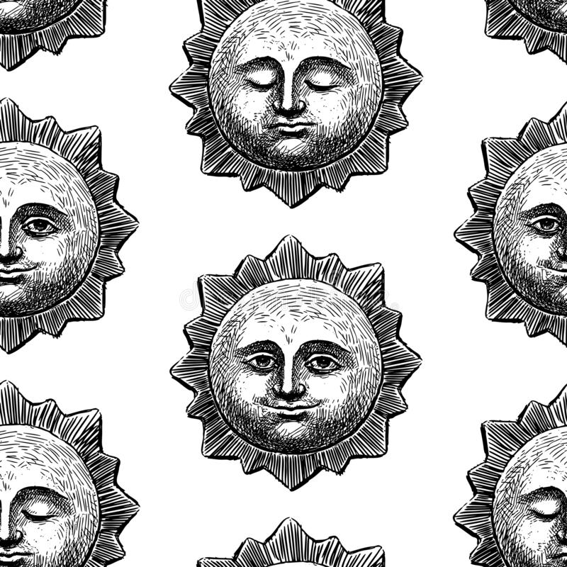 Seamless pattern of smiling and sleeping suns vector illustration