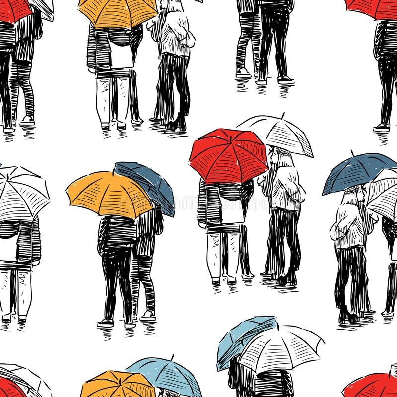 Vector background of sketches of people in the rain royalty free illustration