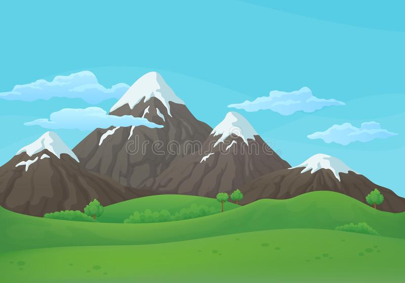 Vector background. Snowy mountain range with green fields, hills and blue sky with clouds. Summer, spring day vector background. Snowy mountain range with green royalty free illustration