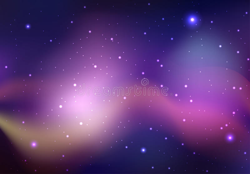 Vector background of space with stars and nebula. stock illustration