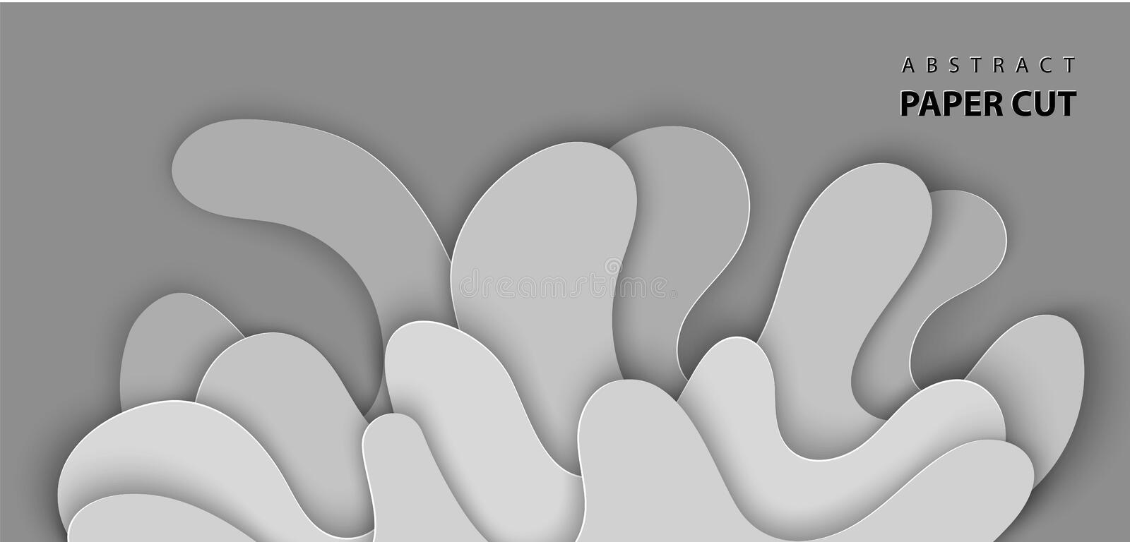 Vector background with splash water paper cut shapes in gray color. 3D abstract paper art style, design layout for advertising,. Flyers, posters, prints vector illustration