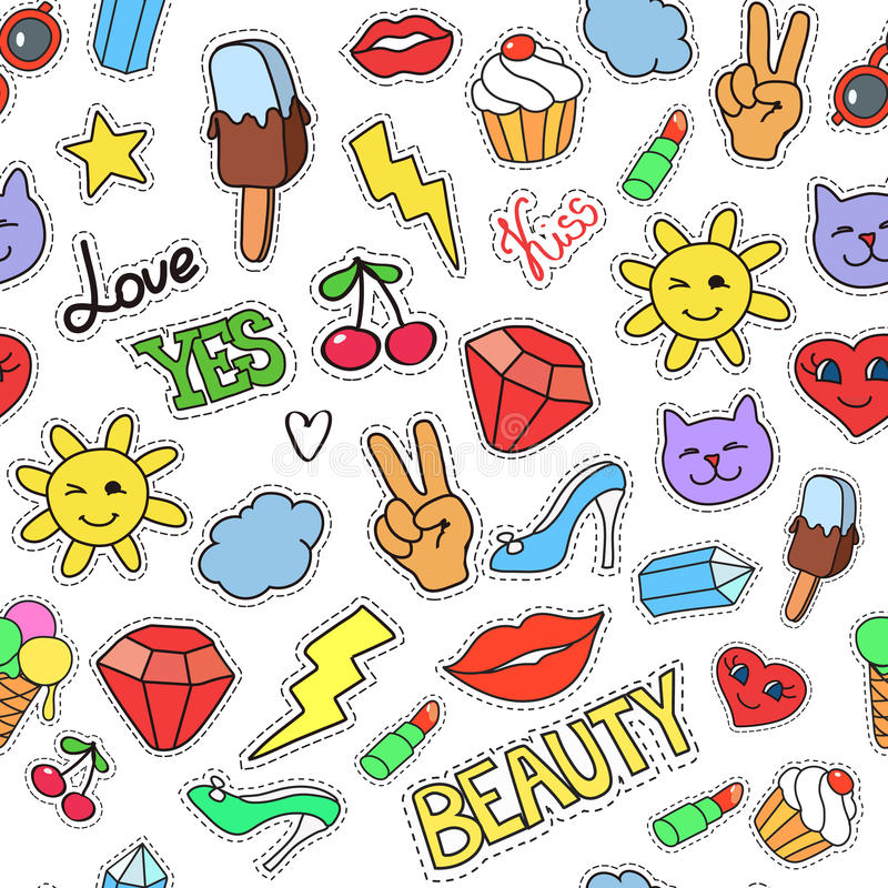 Vector background with stickers, pins, patches. Seamless pattern vector illustration