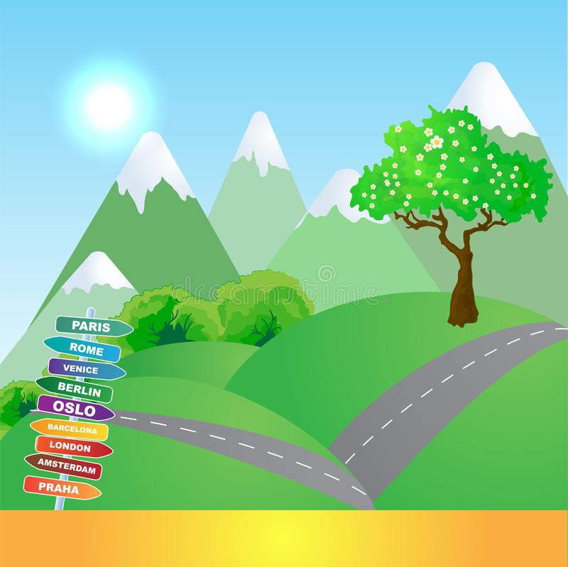 Vector Mountains trip background royalty free illustration