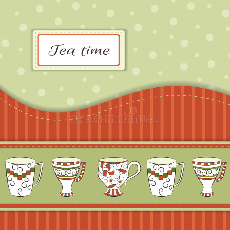 Vector background with tea cups