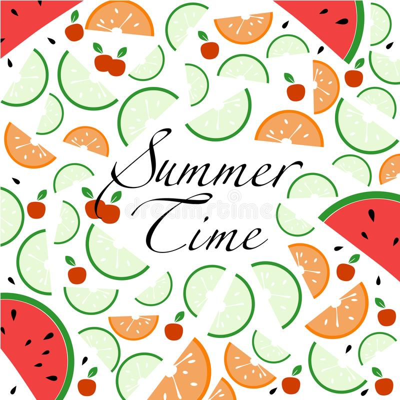 Vector background and text about summertime, fruit slices, berries, splashes of juice. stock illustration