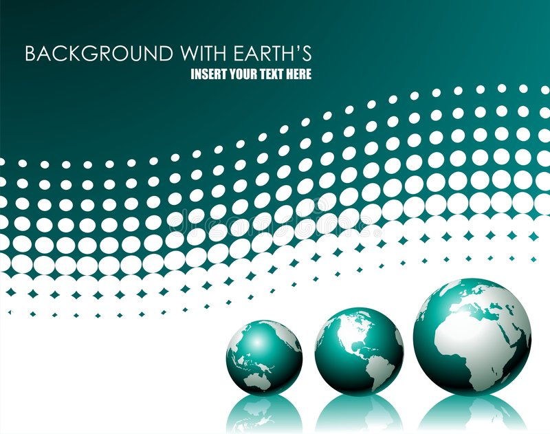 Vector background with three globe. Vector illustration with three globe on white background stock illustration