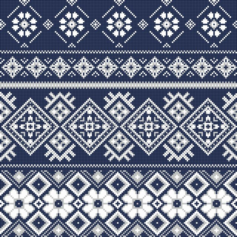 Cross stitch embroidery winter style. vector illustration