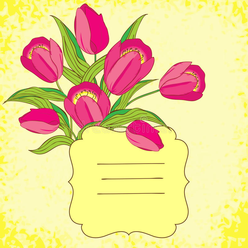 Vector background with tulips. Vignette background with pink tulips, eps10 stock illustration