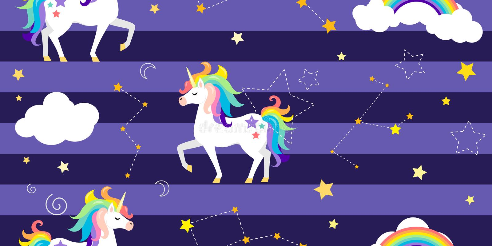 Vector background with unicorns, rainbow, constellations and other elements. royalty free illustration