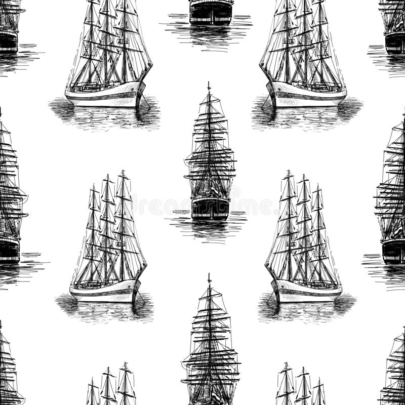 Pattern of sketches of sailing ships royalty free illustration