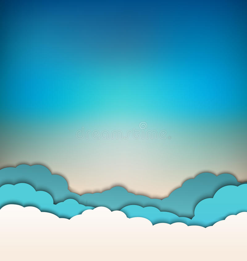 Free Vector Background With Decoration: Sun, Blue Sky And Clouds Royalty Free Stock Image - 49373316