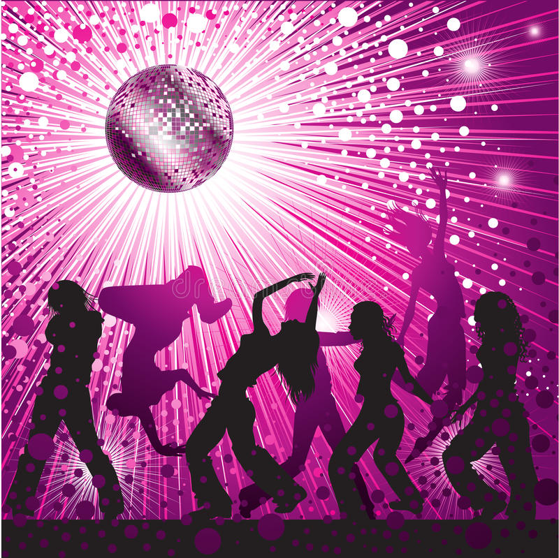 Free Vector Background With People Dancing In Nightclub Royalty Free Stock Image - 10814156