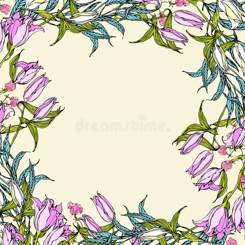 Free Vector Background With Pink And White Lily Flowers Stock Photography - 53047242